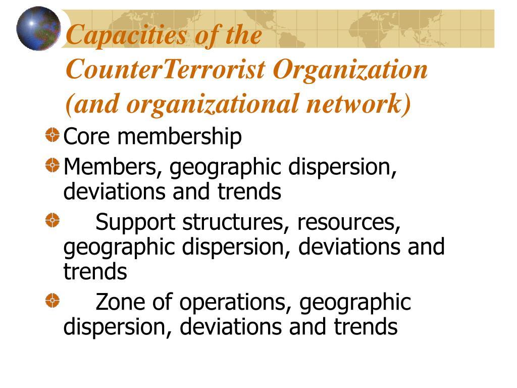 Capacities of the CounterTerrorist Organization (and organizational network)