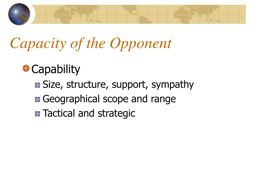 Capacity of the Opponent