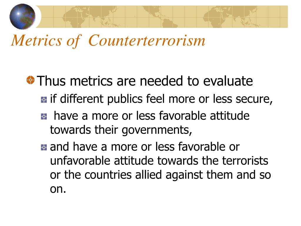 Metrics of  Counterterrorism
