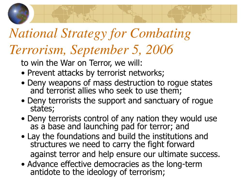 National Strategy for Combating Terrorism, September 5, 2006