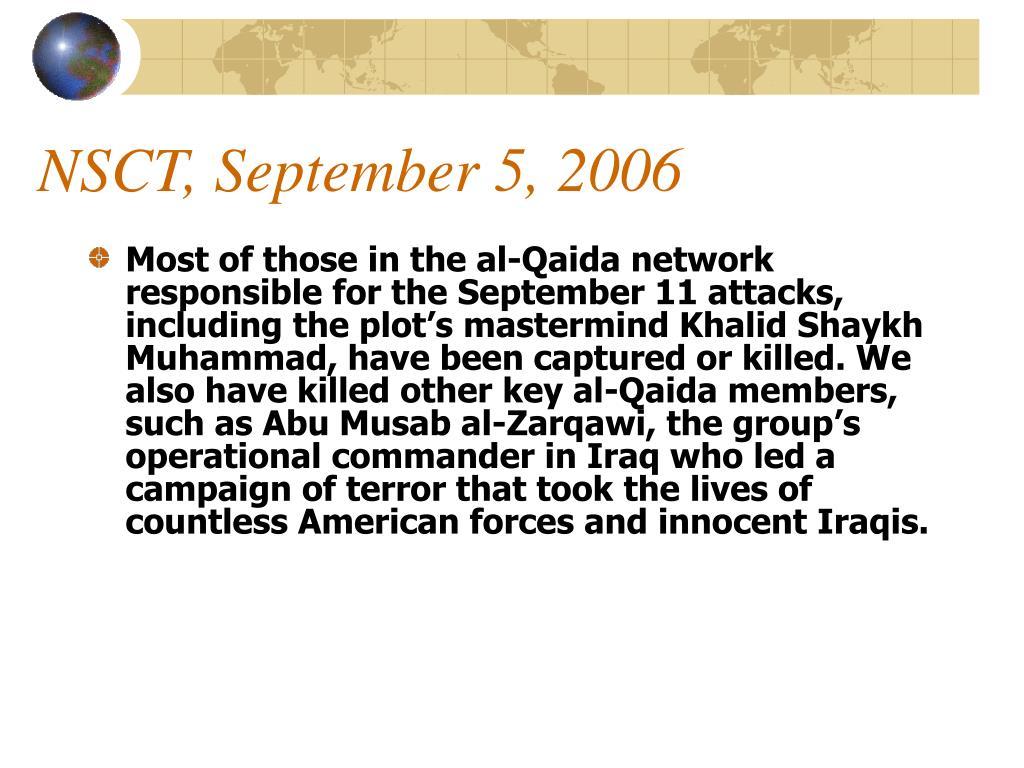 NSCT, September 5, 2006