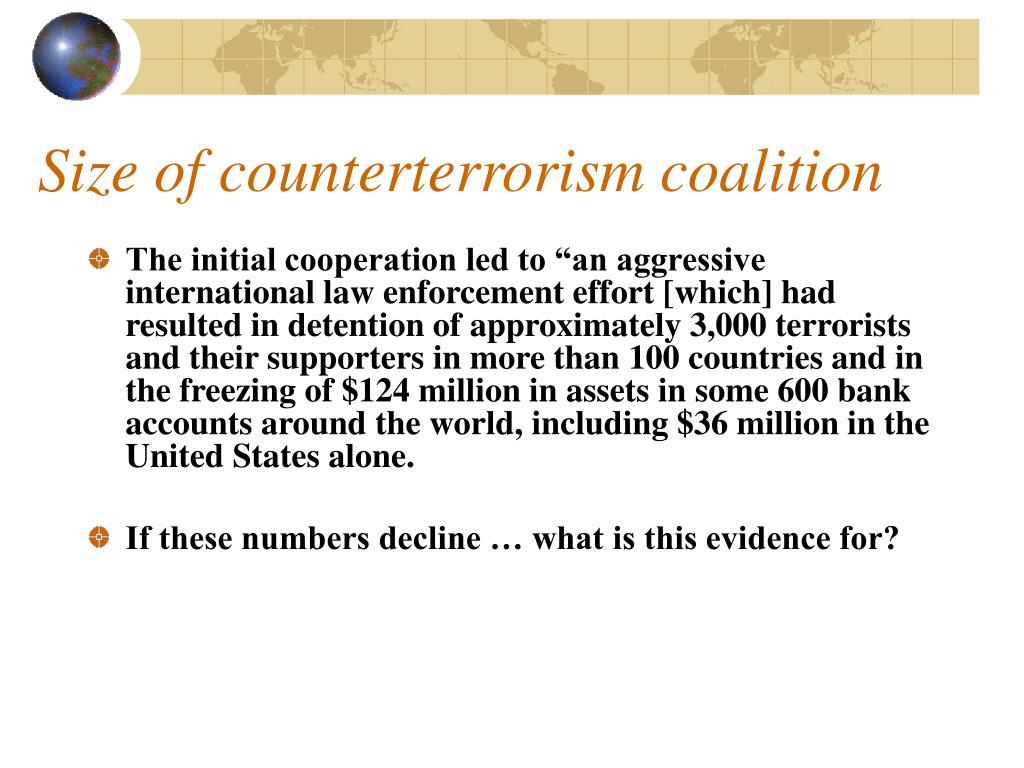 Size of counterterrorism coalition