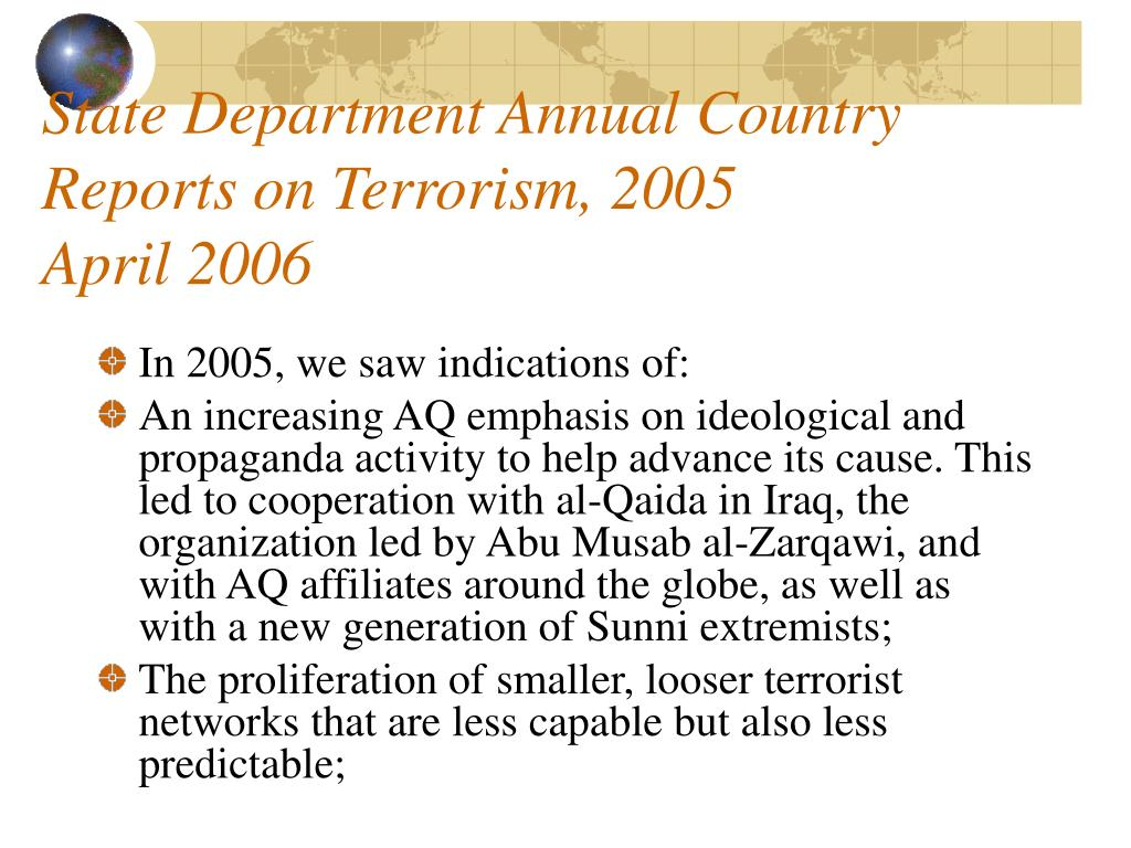 State Department Annual Country Reports on Terrorism, 2005