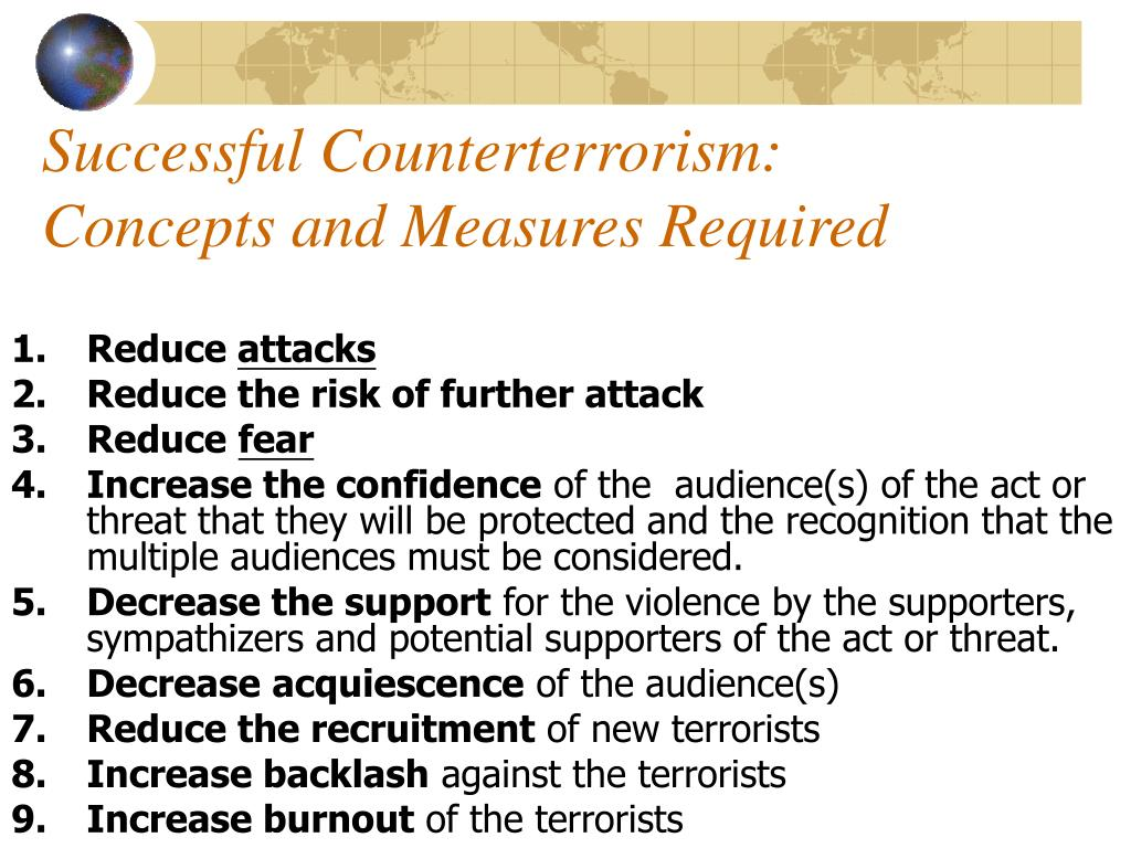 Successful Counterterrorism: Concepts and Measures Required