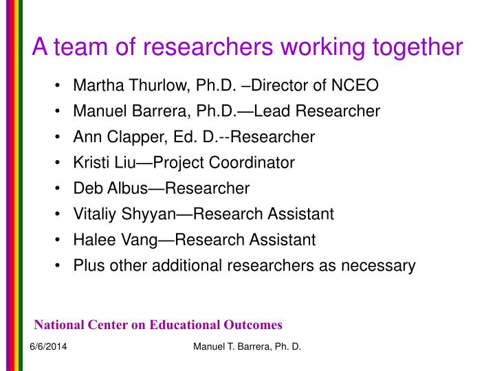 A team of researchers working together