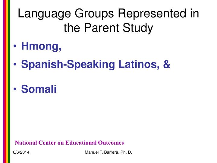 Language Groups Represented in the Parent Study