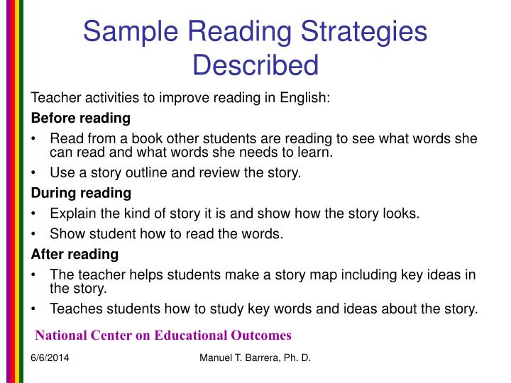 Sample Reading Strategies Described