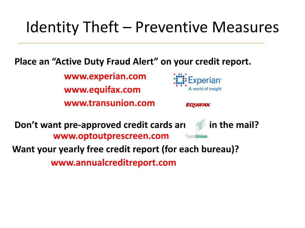 Identity Theft – Preventive Measures