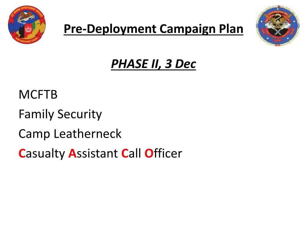 Pre-Deployment Campaign Plan