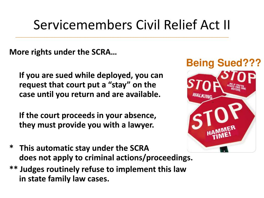 Servicemembers Civil Relief Act II