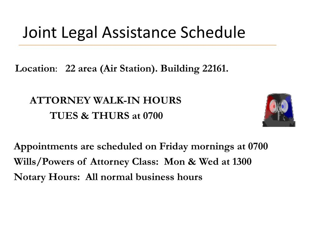 Joint Legal Assistance Schedule