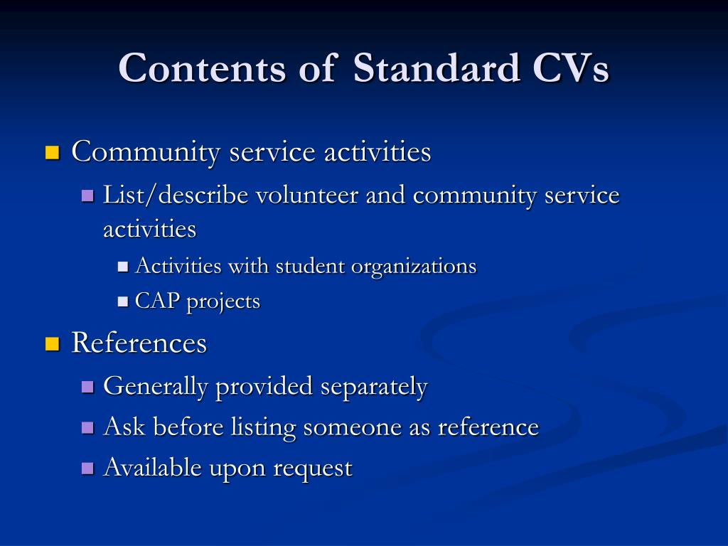 Contents of Standard CVs