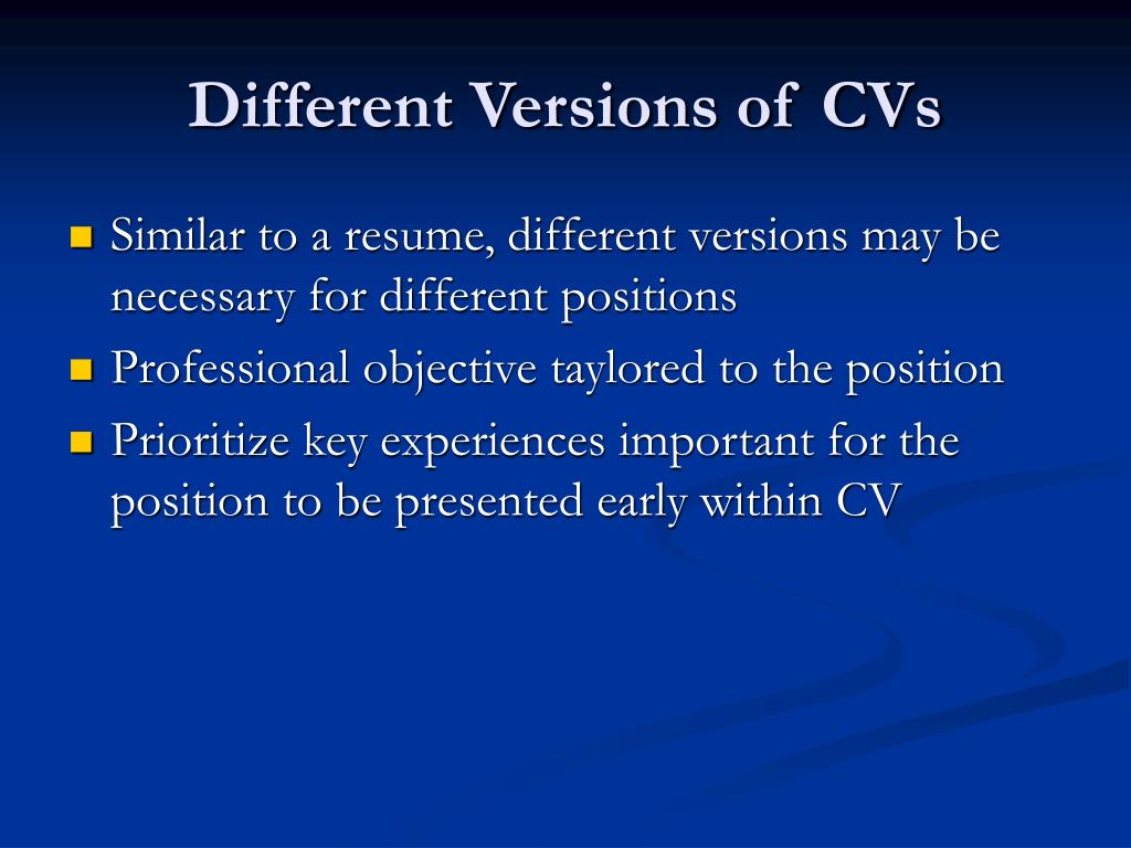 Different Versions of CVs