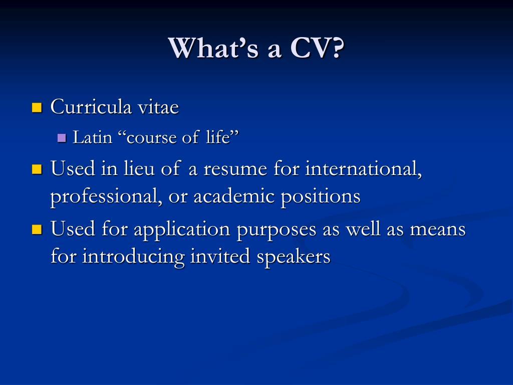 What's a CV?