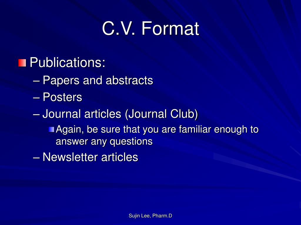 C.V. Format