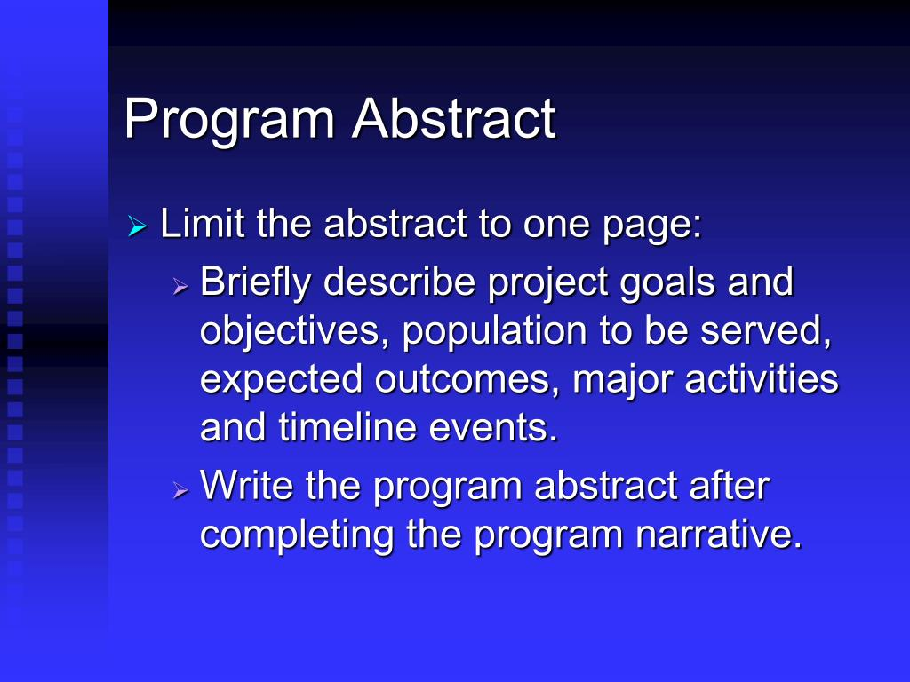 Program Abstract