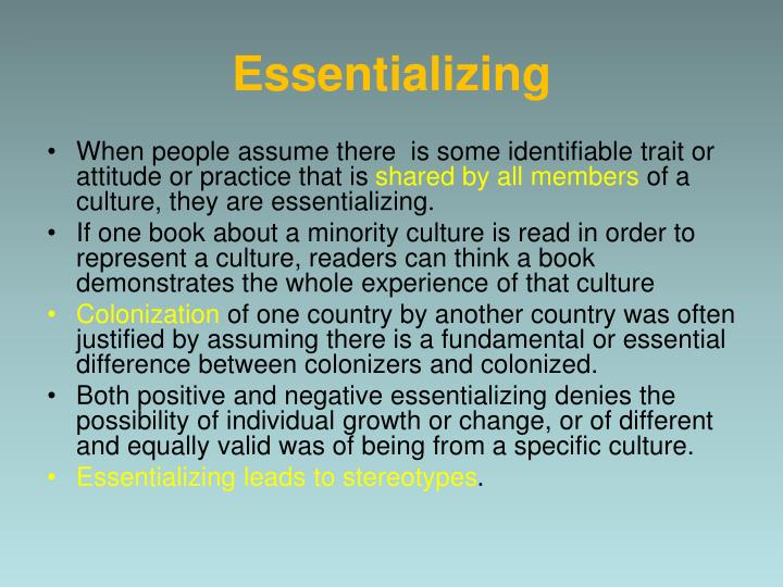 Essentializing