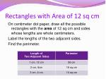 rectangles with area of 12 sq cm