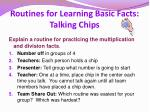 routines for learning basic facts talking chips