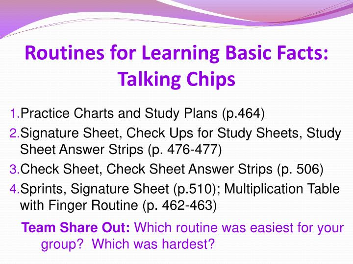 Routines for Learning Basic Facts: Talking Chips
