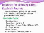 routines for learning facts establish routine
