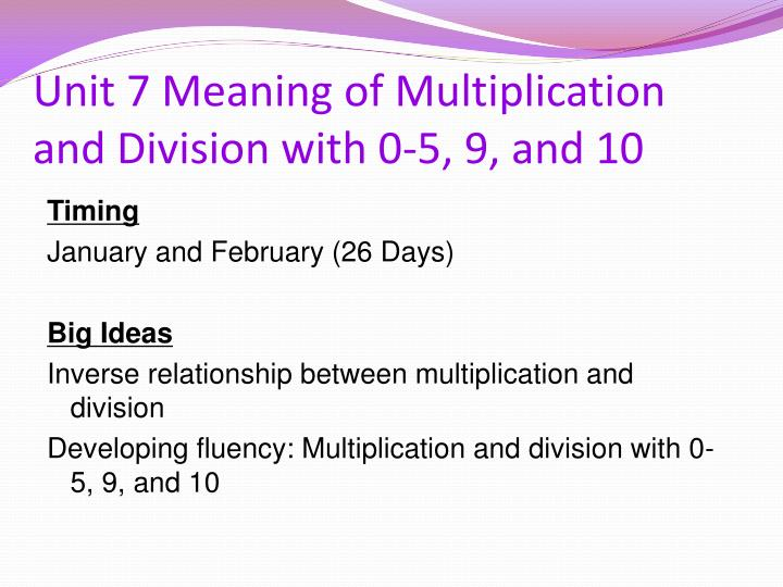 Unit 7 Meaning of Multiplication and Division with 0-5, 9, and 10