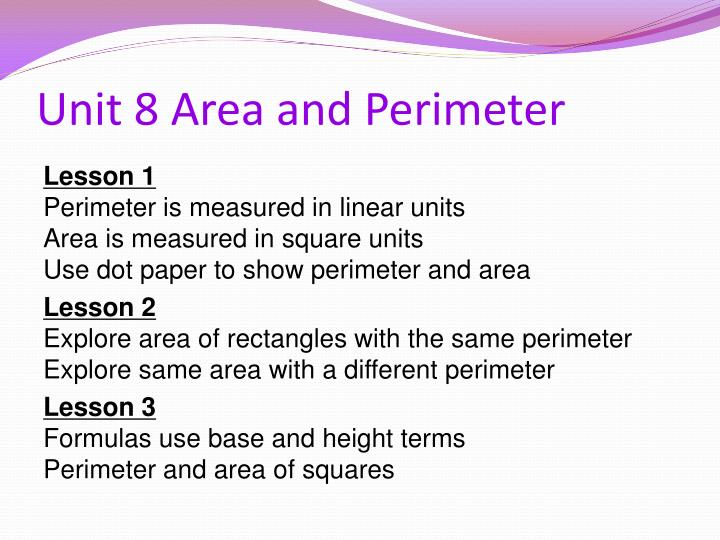 Unit 8 Area and Perimeter