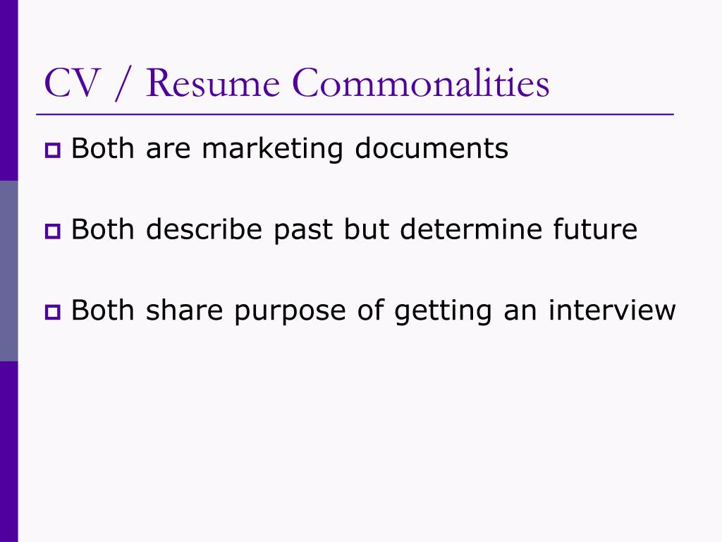 CV / Resume Commonalities
