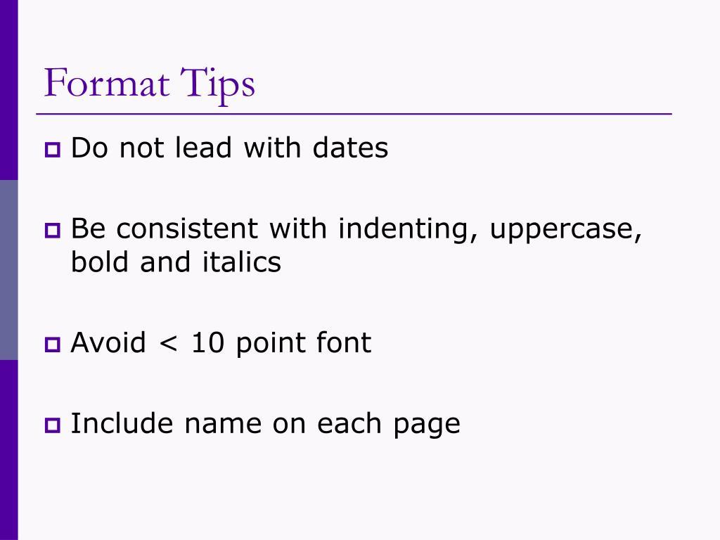 Format Tips