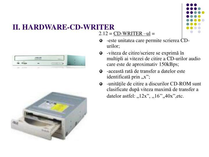 II. HARDWARE-CD-WRITER