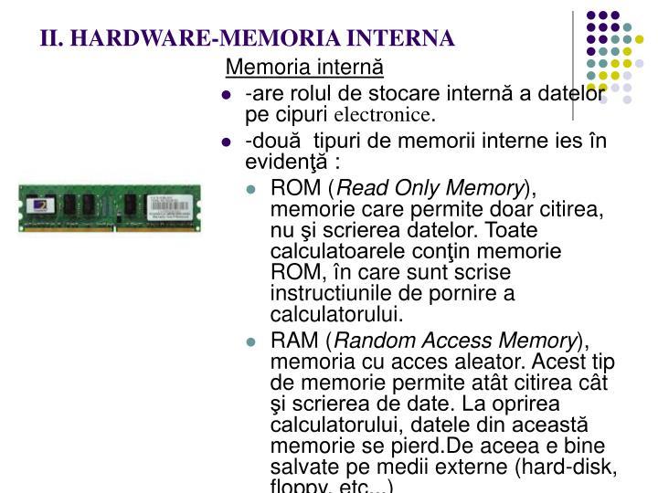 II. HARDWARE-MEMORIA INTERNA