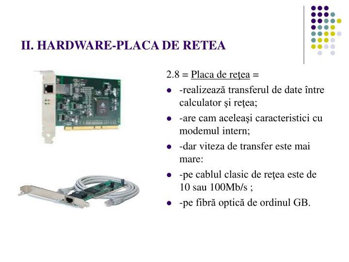 II. HARDWARE-PLACA DE RETEA