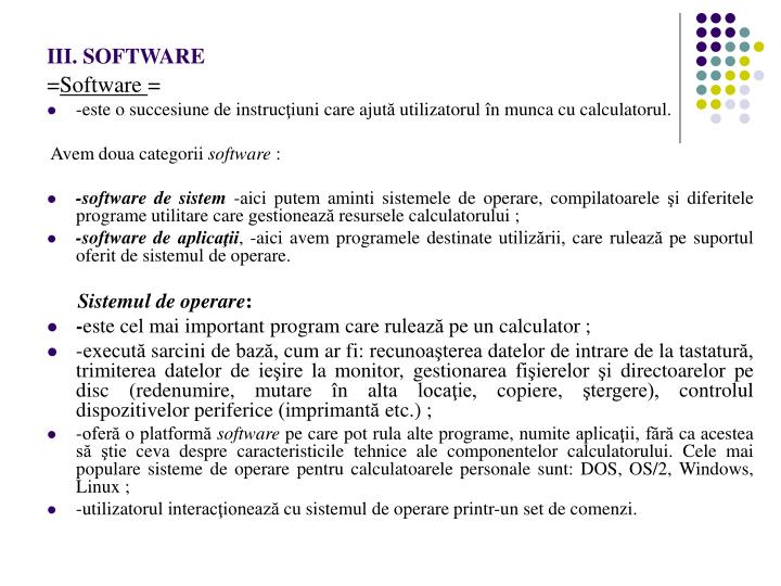 III. SOFTWARE
