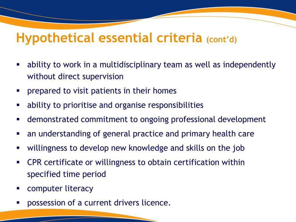 Hypothetical essential criteria