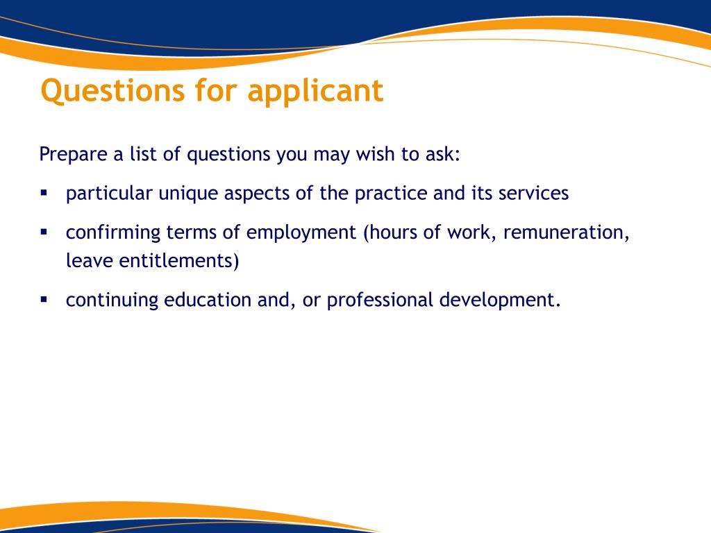 Questions for applicant