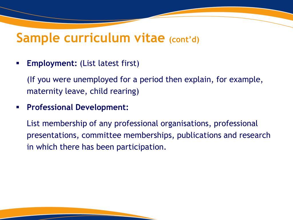 Sample curriculum vitae