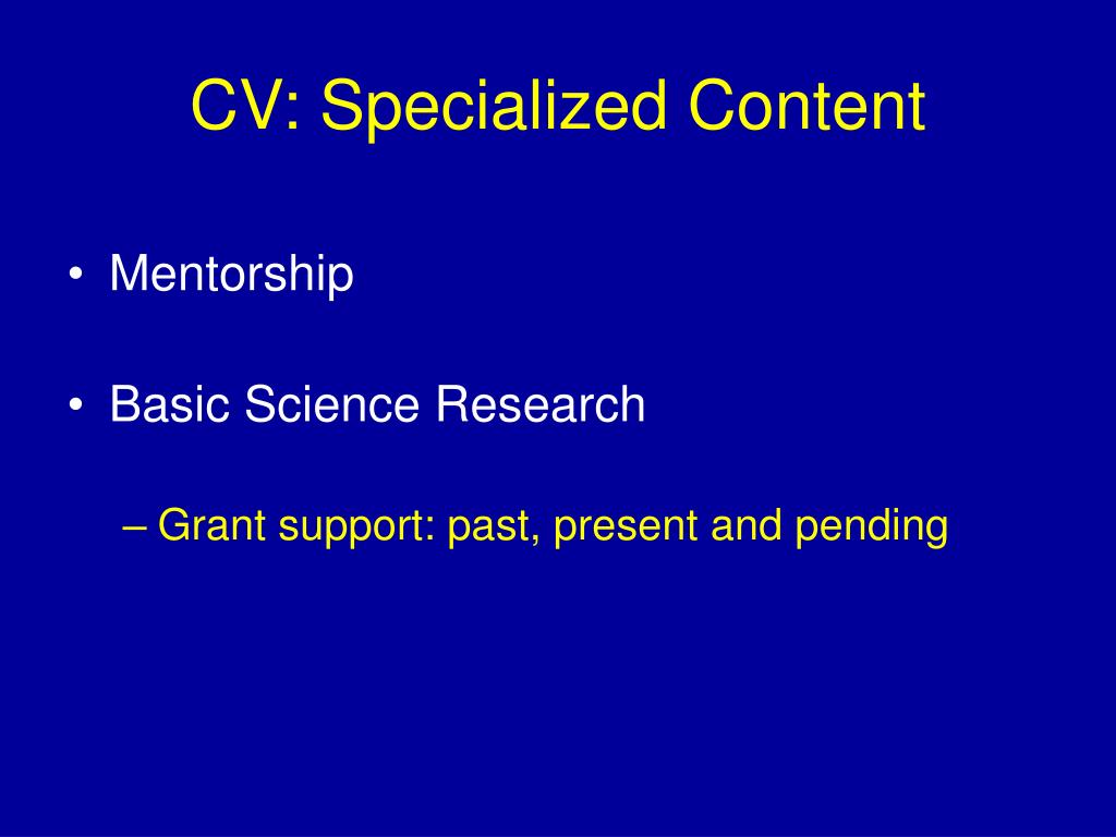 CV: Specialized Content