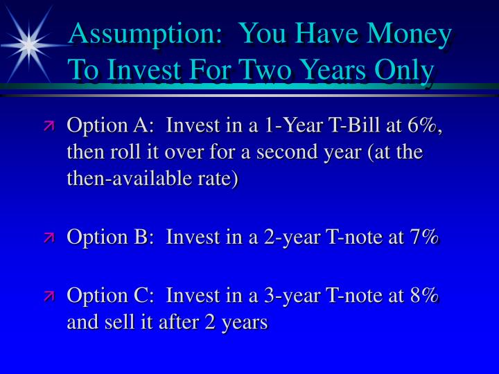Assumption:  You Have Money To Invest For Two Years Only