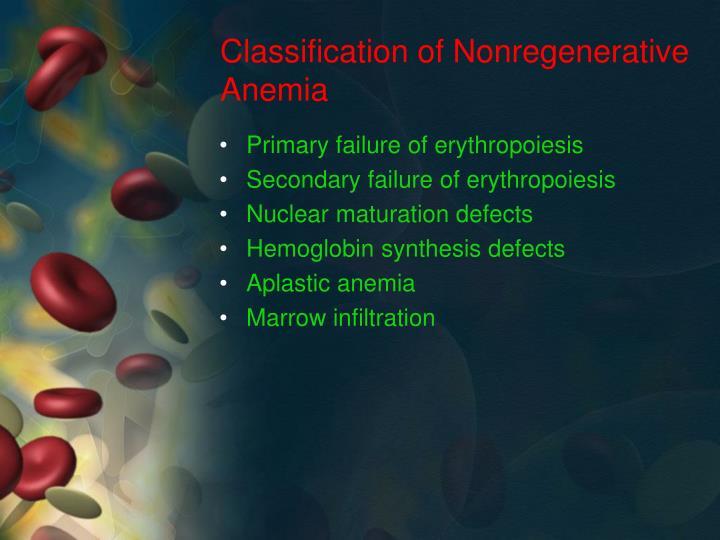 Classification of Nonregenerative Anemia