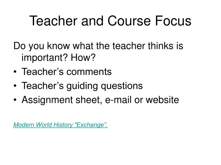 Teacher and Course Focus
