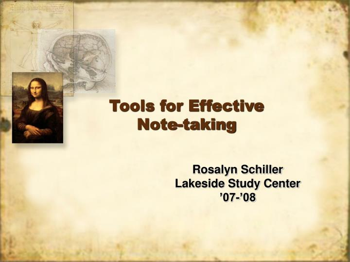 Tools for effective note taking