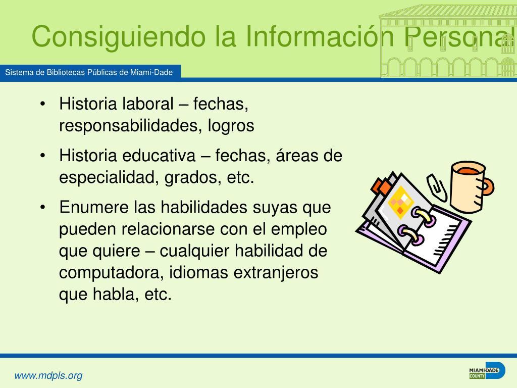 Consiguiendo la Información Personal