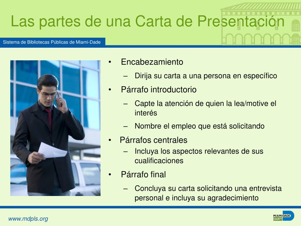 Las partes de una Carta de Presentación