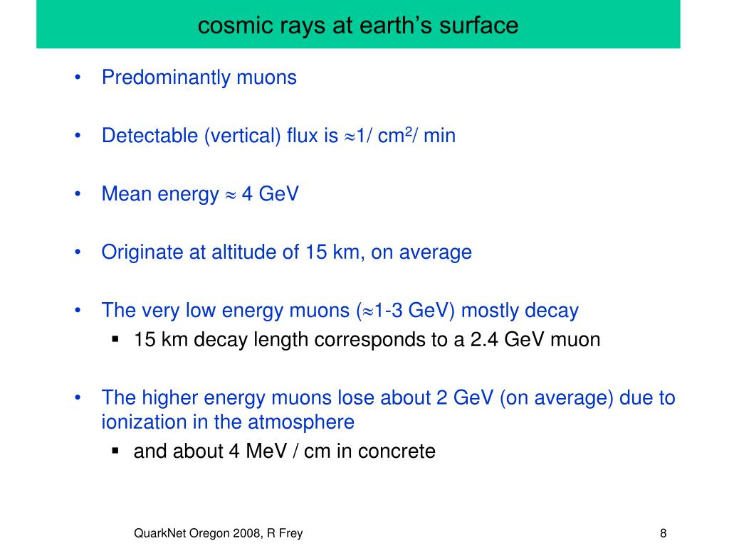 cosmic rays at earthтАЩs surface
