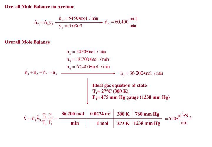 Overall Mole Balance on Acetone