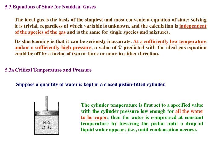 5.3 Equations of State for Nonideal Gases