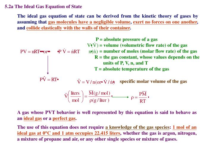 5.2a The Ideal Gas Equation of State