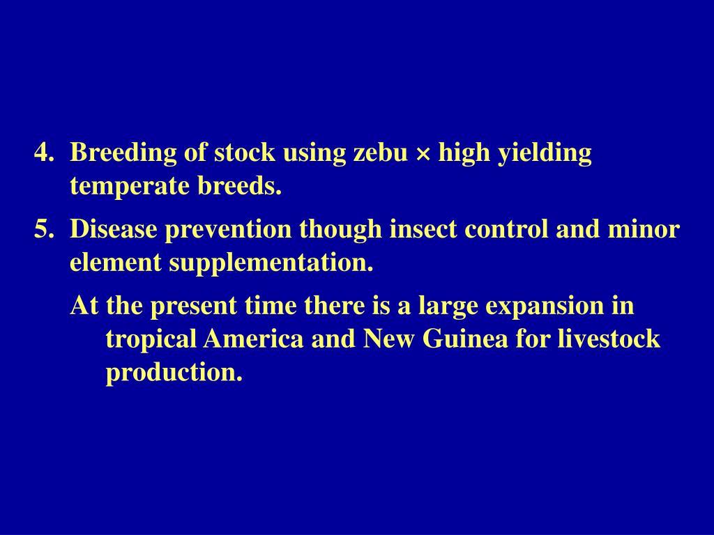 Breeding of stock using zebu × high yielding temperate breeds.