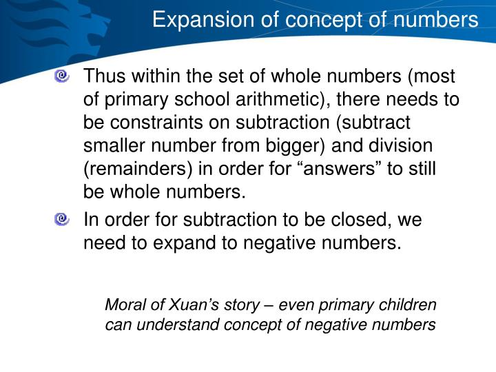 Expansion of concept of numbers