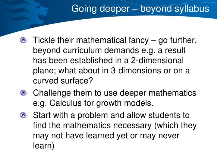 Going deeper – beyond syllabus
